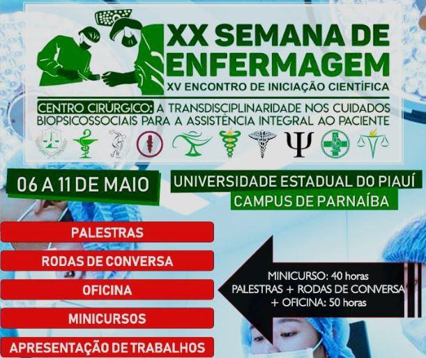 Inscrições abertas para XX Semana de Enfermagem e XV Encontro de Iniciação Científica